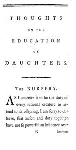 Reflexiones sobre la educación de las hijas de Mary Wollstonecraft